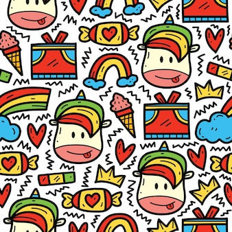 Hand getrokken doodle cartoon eenhoorn schattig tekening patroon ontwerp