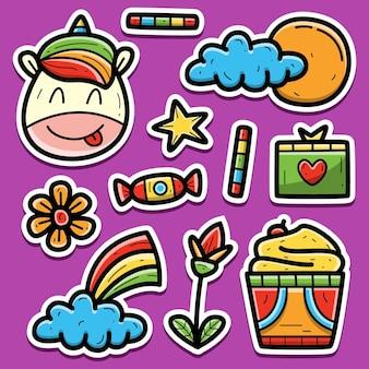 Hand getrokken doodle cartoon eenhoorn sticker ontwerp