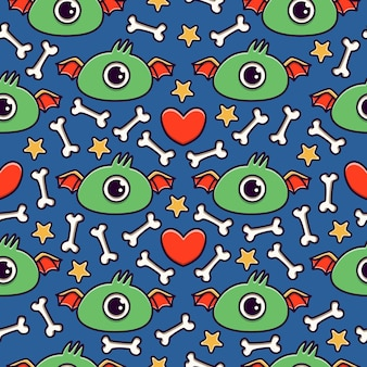 Hand getrokken doodle cartoon monster naadloze patroon ontwerp