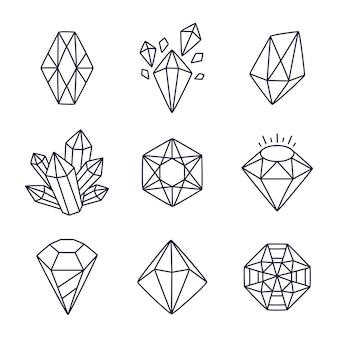 Hand getrokken doodle edelstenen illustratie