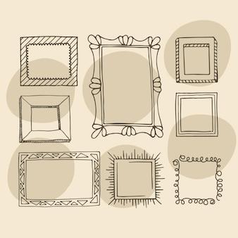 Hand getrokken doodle frame collectie