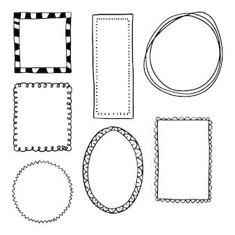 Hand getrokken doodle frame pack