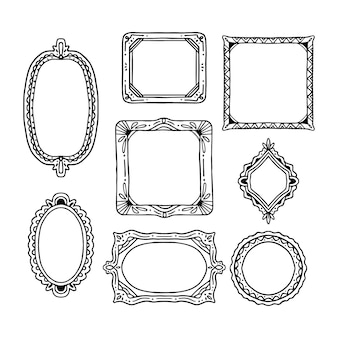 Hand getrokken doodle frames collectie