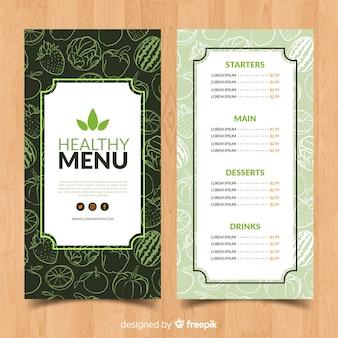 Hand getrokken doodle gezond voedsel menu