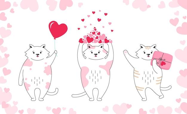 Hand getrokken doodle grappig kitten karakter met hartjes, ballon, cadeau en pakket