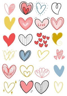 Hand getrokken doodle hart collectie