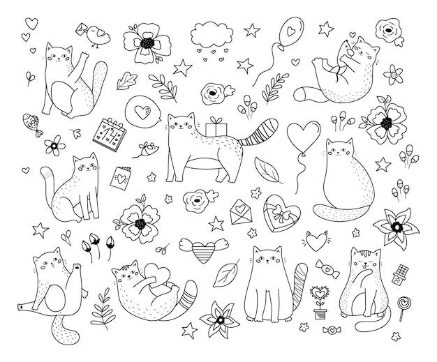 Hand getrokken doodle katten met hartjes, snoep en bloemen. sint valentijnsdag ingesteld.