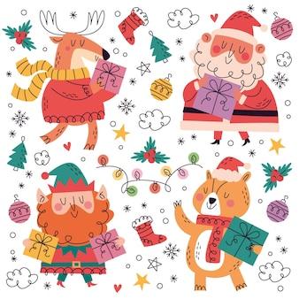 Hand getrokken doodle kerstcollectie