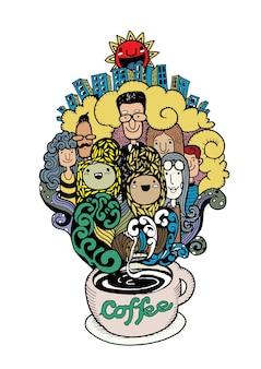 Hand getrokken doodle koffie achtergrond, illustrator lijn hulpmiddelen tekenen