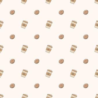 Hand getrokken doodle koffie naadloze patroon achtergrond