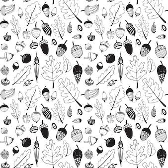 Hand getrokken doodle naadloze eikel patroon.