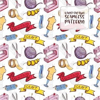 Hand getrokken doodle naaien naadloze patroon