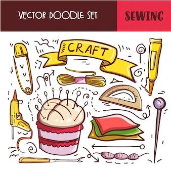 Hand getrokken doodle naaien pictogramserie