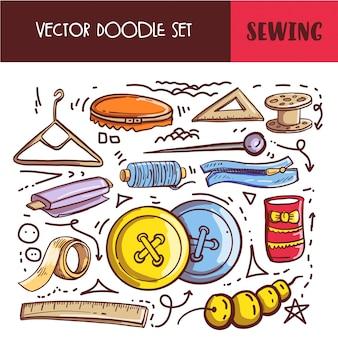 Hand getrokken doodle naaien set