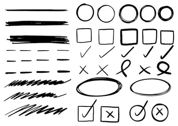 Hand getrokken doodle ontwerp grafische elementen. hand getrokken pijlen cirkels en abstract doodle schrijven ontwerp. witte achtergrond.
