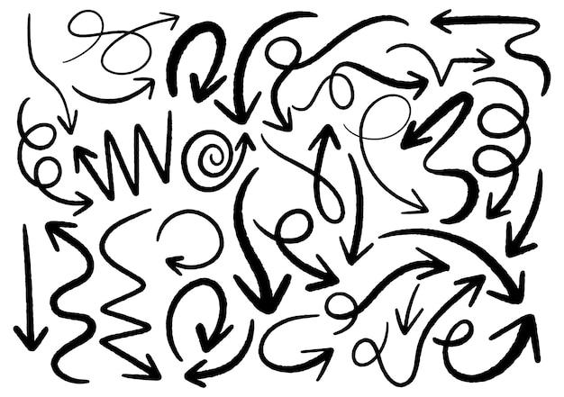 Hand getrokken doodle ontwerpelementen. handgetekende pijlen, kaders, randen, pictogrammen en symbolen. cartoon stijl infographics elementen. witte achtergrond.