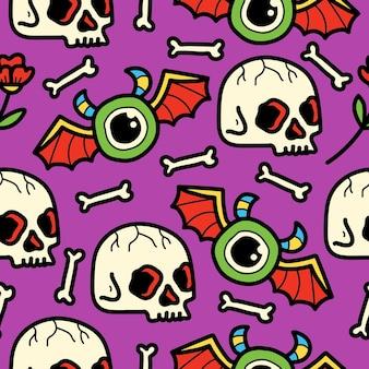 Hand getrokken doodle patroon cartoon karakter schedel ontwerp