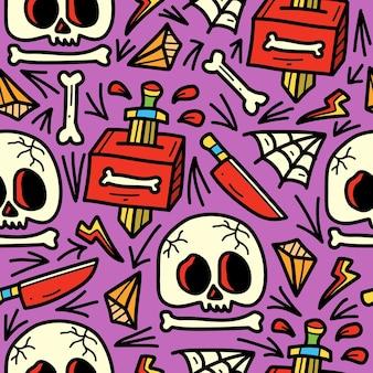 Hand getrokken doodle patroon cartoon schedel tattoo