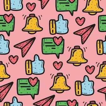 Hand getrokken doodle pictogram patroon ontwerp illustratie