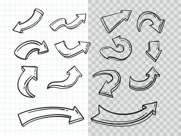 Hand getrokken doodle pijl collectie set