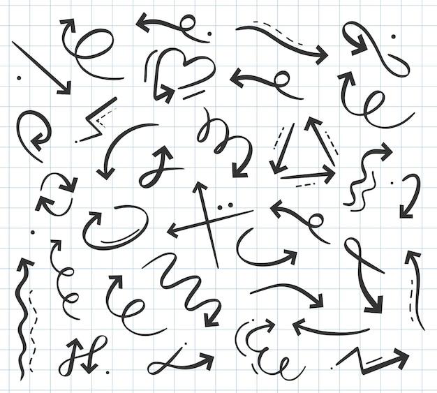 Hand getrokken doodle pijl in verschillende richtingen curly cursor pointers omhoog omlaag links rechts roterend teken