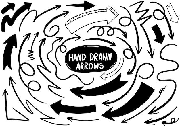 Hand getrokken doodle pijlen