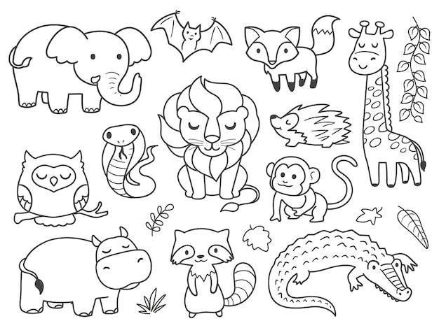 Hand getrokken doodle safari dieren