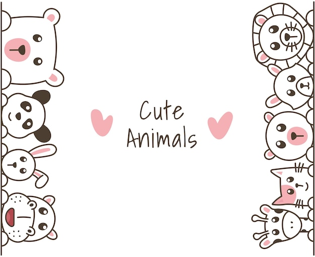 Hand getrokken doodle schattige dieren