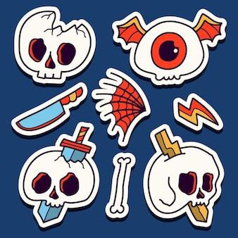 Hand getrokken doodle schedel cartoon sticker ontwerp