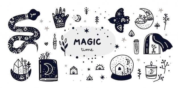 Hand getrokken, doodle, schets boho-collectie. hekserij symbolen
