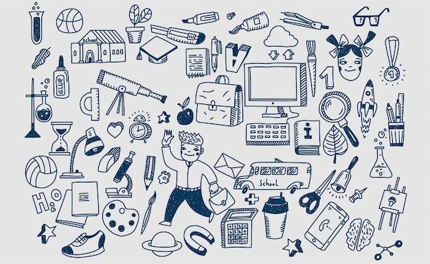 Hand getrokken doodle school illustratie