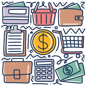 Hand getrokken doodle set financiële zaken met pictogrammen en ontwerpelementen