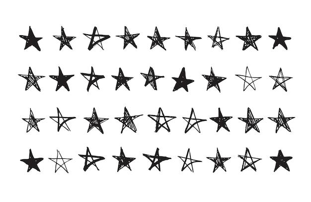 Hand getrokken doodle sterren set