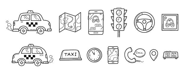 Hand getrokken doodle taxi set van pictogrammen