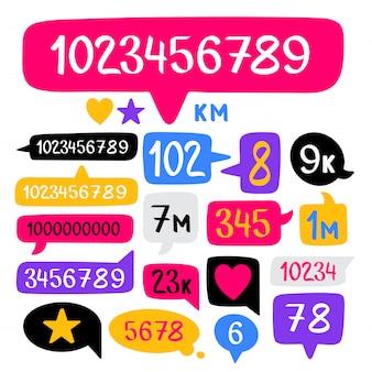 Hand getrokken doodle toespraak bubbels set en sociale teller met nummers. vector illustratie.