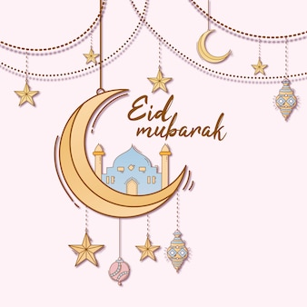 Hand getrokken doodle van islamitische eid mubarak-viering
