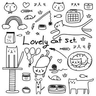 Hand getrokken doodle vector mooie kat ingesteld