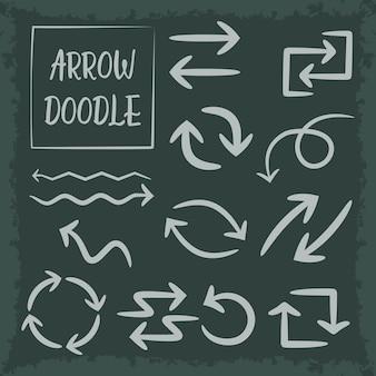 Hand getrokken doodle vector pijlen instellen