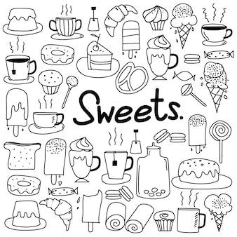 Hand getrokken doodle vector snoepjes set