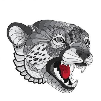 Hand getrokken doodle zentangle cheetah illustratie vector