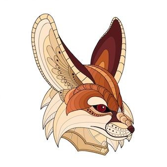 Hand getrokken doodle zentangle fennec fox illustratie-vector