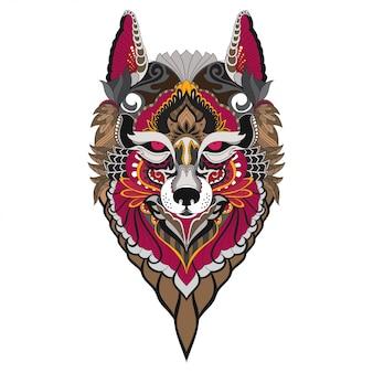 Hand getrokken doodle zentangle fox illustratie-vector.
