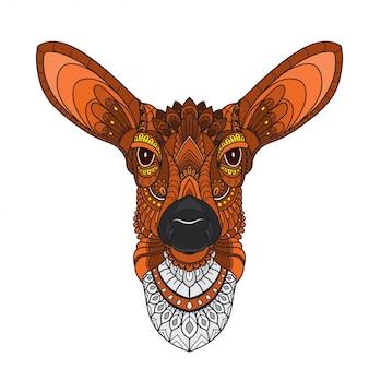 Hand getrokken doodle zentangle herten illustratie-vector