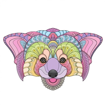 Hand getrokken doodle zentangle rode panda illustratie-vector