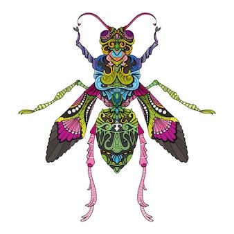 Hand getrokken doodle zentangle vliegen illustratie-vector.