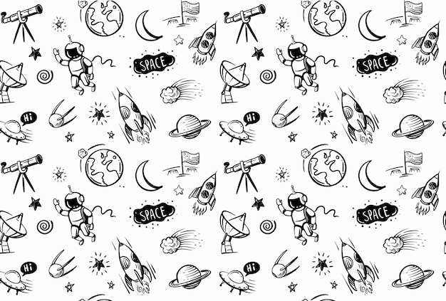 Hand getrokken doodles cartoon set van ruimte op zwarte achtergrond