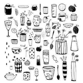 Hand getrokken doodles van servies zwart schetsmatig