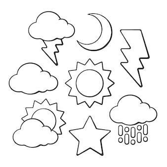 Hand getrokken doodles van weersymbolen vector overzicht set zon wolk halve maan ster