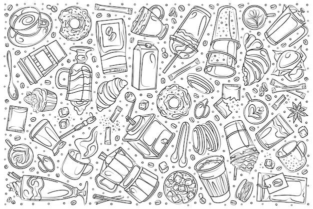 Hand getrokken drinken thee set doodle