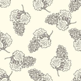 Hand getrokken druiven naadloos patroon. tros druiven op lichte achtergrond. vers fruit zwart-wit schets. gravure vintage stijl achtergrond. ontwerp voor inpakpapier, textielprint. vector illustratie